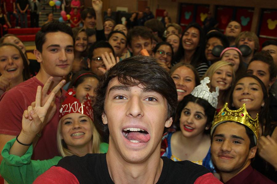cross country team selfie taken at the pep assembly