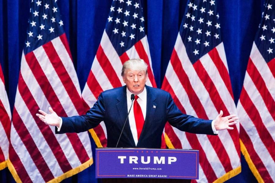 NEW YORK, NY - JUNE 16:   Business mogul Donald Trump gives a speech as he announces his candidacy for the U.S. presidency at Trump Tower on June 16, 2015 in New York City.  Trump is the 12th Republican who has announced running for the White House.  (Photo by Christopher Gregory/Getty Images)