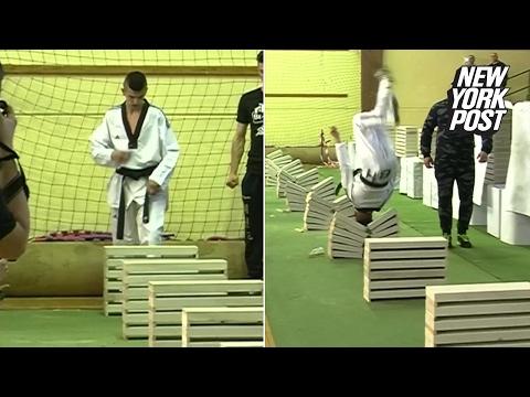Teen Taekwondo Champ Smashes 111 Building Blocks with Head
