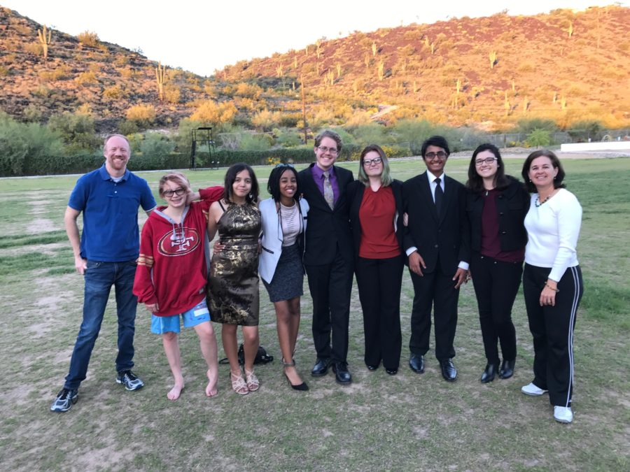 Pictured from left to right: Mr. Robinson, Vivian Wood, Marixa Zazueta-Switzer, Winta Tekle, Mason Carr, Logan Smith, Yusuf Rahman, Halley Hughes, and Mrs. Hughes