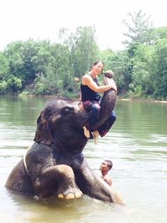 Ms. Lange is Thailand on  Ummm, her elephant