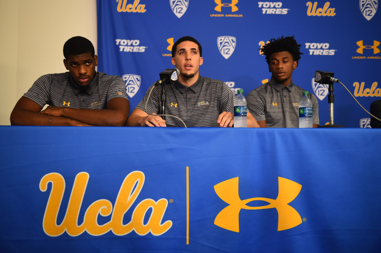 UCLA Men's Basketball student-athletes (l-r) Cody Riley, LiAngelo Ball, and Jalen Hill during a press conference at UCLA, Wednesday, November 15, 2017. The press conference was held to address their recent arrest and detention in China for shoplifting.  (Photo by Hans Gutknecht, Los Angeles Daily News/SCNG)