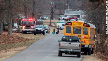 Emergency crews respond to Marshall County High School where one person has been confirmed dead following a shooting Tuesday, Jan. 23, 2018. (Ryan Hermens/The Paducah Sun via AP)