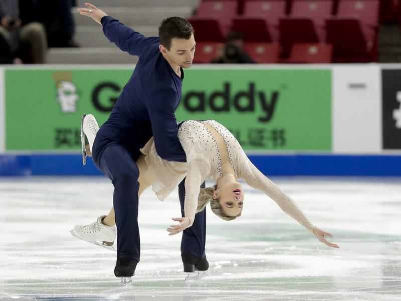 Alexa Scimeca Knierim and Chris Knierim, of the United States, perform during the pairs short program at Skate America, Friday, Nov. 24, 2017, in Lake Placid, N.Y. (AP Photo/Julie Jacobson)