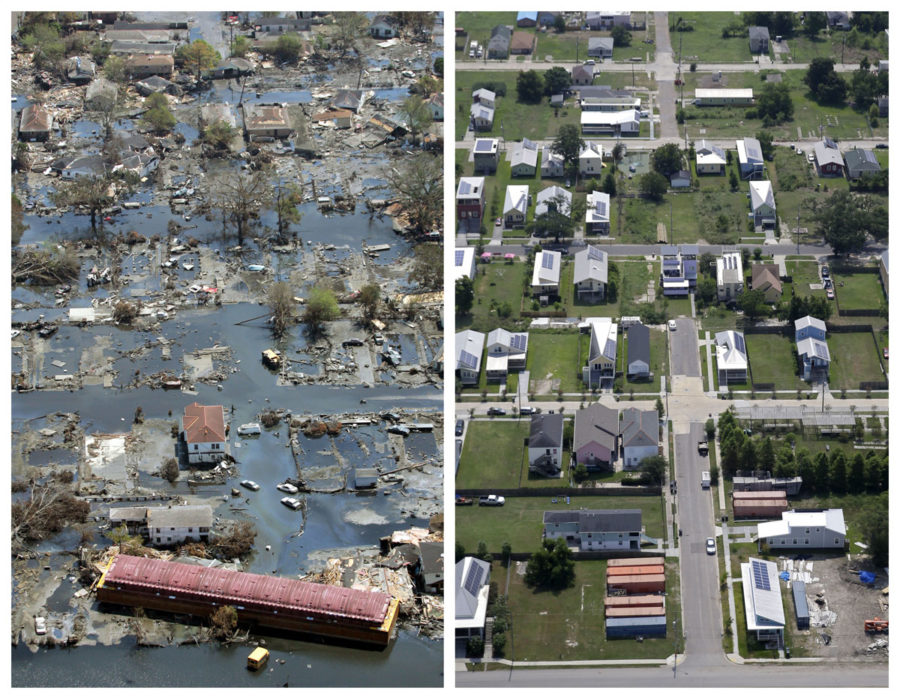 This combination of Sept. 11, 2005 and July 29, 2015 aerial photos show the Lower Ninth Ward of New Orleans flooded by Hurricane Katrina and the same area a decade later. Before Katrina, the Lower Ninth Ward was a working-class and predominantly African-American neighborhood just outside the citys historic center. (AP Photo/David J. Phillip, Gerald Herbert) ORG XMIT: NY716