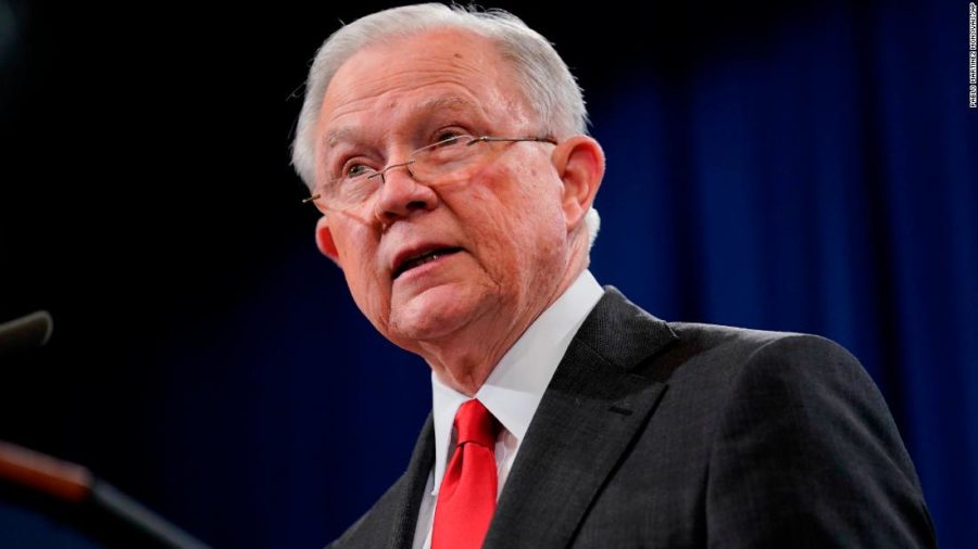 Attorney+General+Jeff+Sessions+speaks+during+a+news+conference+to+announce+a+criminal+law+enforcement+action+involving+China%2C+at+the+Department+of+Justice+in+Washington%2C+Thursday%2C+Nov.+1%2C+2018.+Justice+Department+and+FBI+leaders+announced+criminal+charges+and+an+operation+to+thwart+Chinese+economic+espionage.+%28AP+Photo%2FPablo+Martinez+Monsivais%29