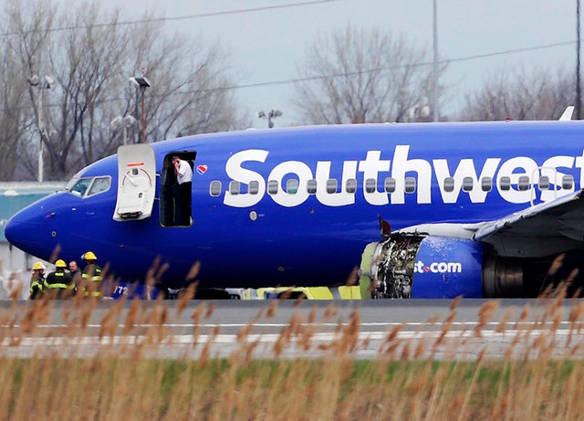 A Southwest Airlines plane flying from New York to Dallas number 1380 had an emergency landing due to engine failure and the death of a passenger, when she was sucked out a hole in the side, on April 17th.