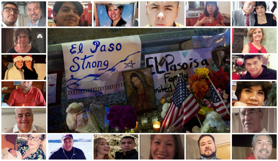 A collage of victims of El Paso shooting and in the middle, a makeshift memorial.