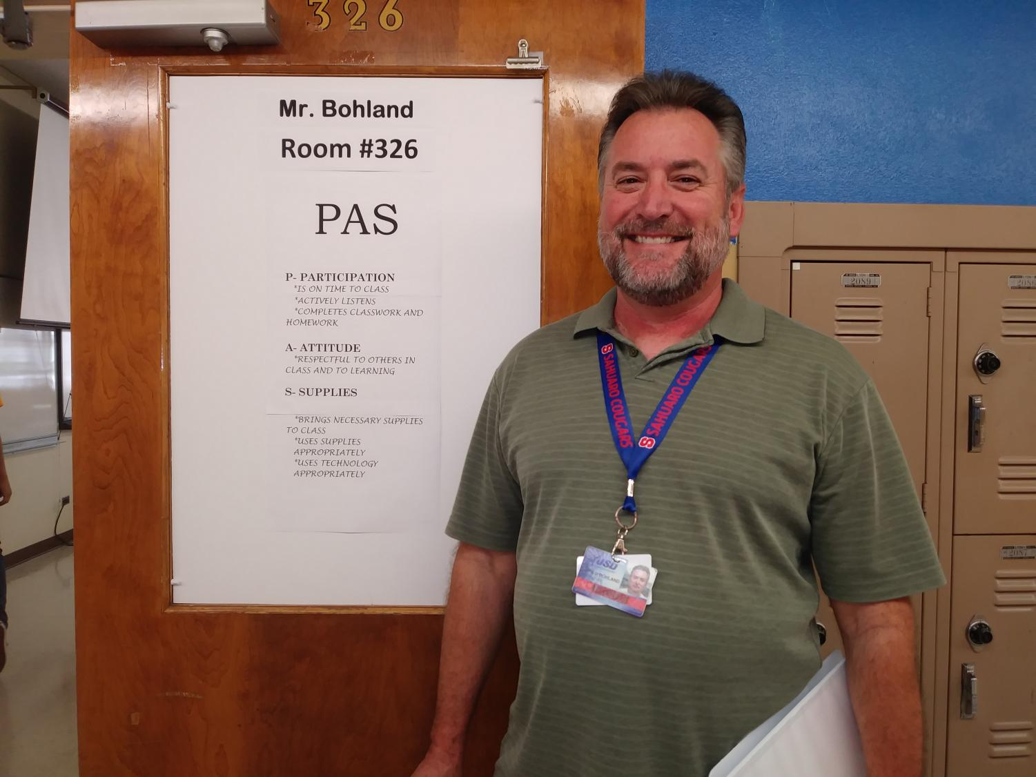Image of Mr. Bohland by his room, #326