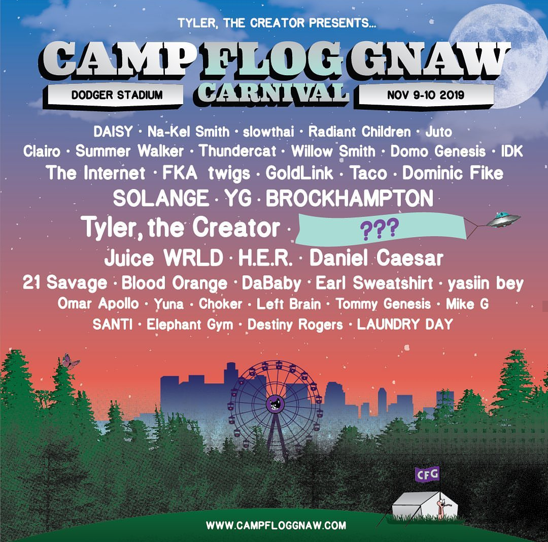 Camp Flog Gnaw's list of preforming artists, showing the mystery performance.