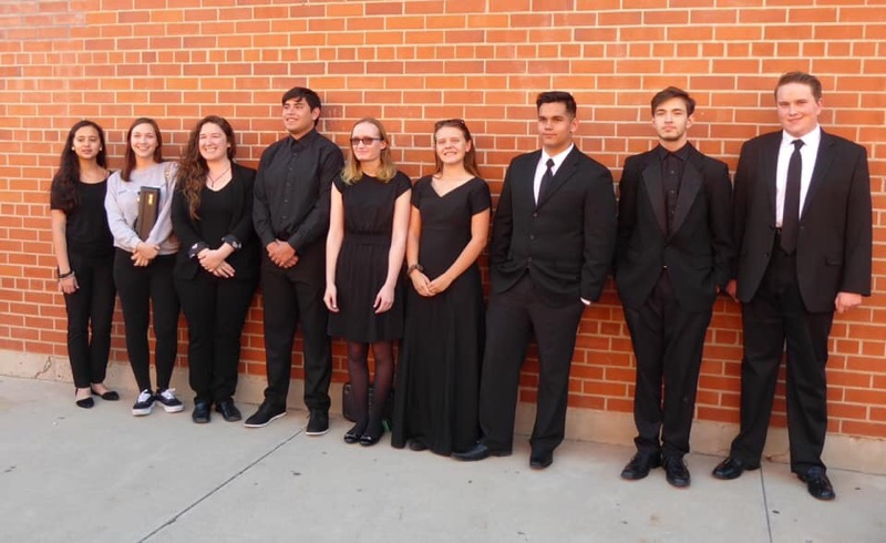 All of Sahuaros performing band members and Sahuaros band director, Ms. Engel.