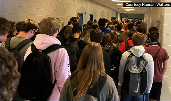 Hannah Watters, a student at North Paulding High School in Dallas, Georgia, took a photo of packed halls on the first day of school. Watters was suspended after the photo went viral