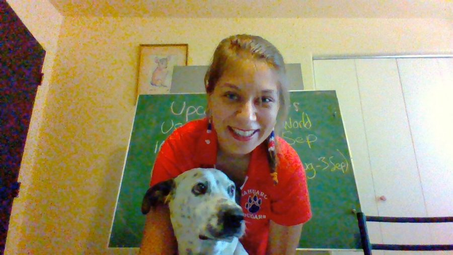 Ms. Hoyt and her dog, Annie, taking a selfie.