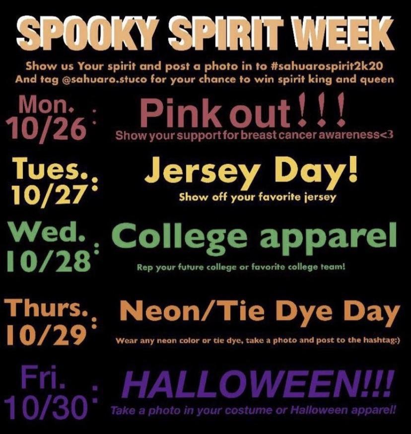Sahuaro's Spooky Spirit Week: 10/26-10/30