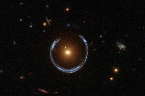 Telescope image of the largest Einstein Ring discovered, GAL-CLUS-022058s